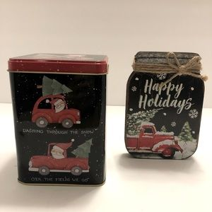 Little Red Truck Cookie Tin and Wood Mason Jar